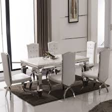 marble and stainless steel dining table barzini stainless steel dining table set idolza