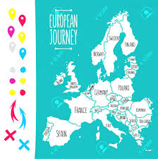 World Map With Pins by Travel Map With Pins Vintage Hand Drawn Europe Vector Illustration