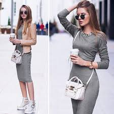 summer fall gray bodycon women pencil casual knitted cotton ladies