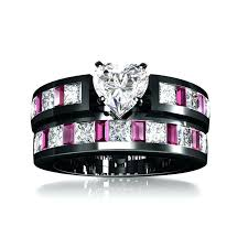 black and pink wedding ring sets pink and black wedding ring sets vancaro black and pink wedding