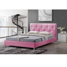 barbara pink modern full size bed with crystal button tufting