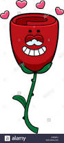 a cartoon illustration of a rose with an in love expression stock