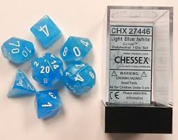 D And G Light Blue Chessex 7 Dice Set Cirrus Light Blue W White Chx 27446 For D U0026d