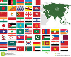 Asia Map Countries by Asia Vector Flags And Maps Royalty Free Stock Photo Image 17263395