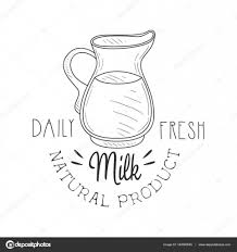 natural product fresh milk product promo sign in sketch style with
