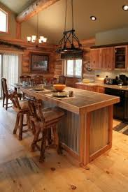Log Cabin Kitchen Cabinets by Cozy Cabin Kitchen Love The Gray Cabinets Against All The Wood