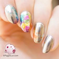 piggieluv rainbow macarons nail art