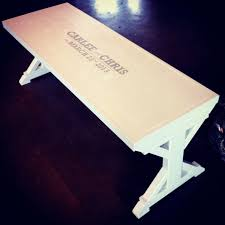 ana white wedding guest book bench from modified fancy x bench