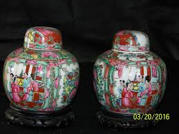 pair vintage chinese export rose medallion hand painted ginger jar