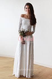 wedding dress the shoulder vintage style white lace the shoulder sleeve floor