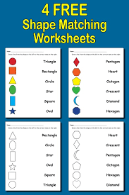 4 free shapes matching worksheets for preschool u0026 kindergarten