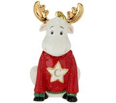 lenox porcelain 4 moose monogram ornament w 24k gold accents