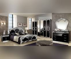 Italian Bedroom Sets Mcs Sara Sara Black And Silver Italian Bedroom Set With 4 Door