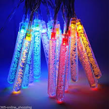 Multi Color Icicle Lights 20x Icicle Bubble Multi Color Led Solar Power Garden Hanging