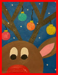 granny goes to guided art reindeer on canvas tk