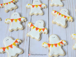 halloween sugar cookies decorated ghost banner cookies cute candy