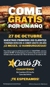 carl s jr will give free burgers for a year to customers