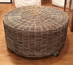 storage ottoman on wheels fascinating round wicker ottoman round rattan ottoman on wheels