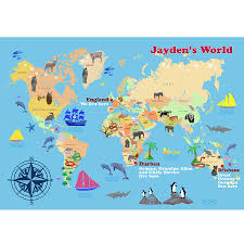 Interactive Map Of The World by Personalised Child U0027s World Map Print By Cherry Pete