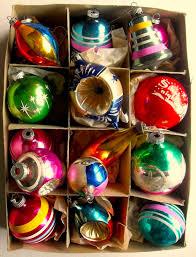 1940s 1950s vintage ornaments shiny brite box 40 years