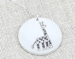 personalized kids jewelry actual kids drawing necklace children artwork necklace kid