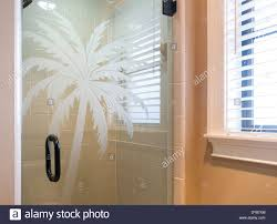 showcase bathroom with glass shower door with etched palm tree