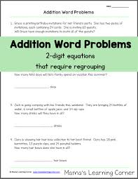 addition word problems with regrouping mamas learning corner
