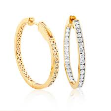 14k gold hoop earrings 14k gold inside out channel set diamond hoop earrings 2 69ct