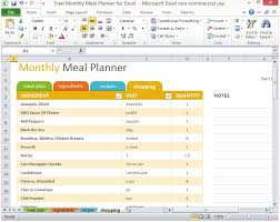 Shopping List Template Excel Free Monthly Meal Planner For Excel