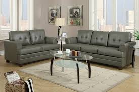 Oval Glass Top Coffee Table Living Room Tufted Back Gray Leather Living Room Sets With Oval