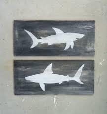Nautical Home Decorations Shark Wood Signs Nautical Home Decor Beach House By Kellyavenue
