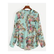 print blouses pale green floral print blouse with epaulet 12 liked on