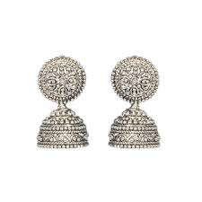 metal earings buy silver fusion black metal jhumka earrings online