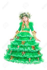 christmas tree costume charming girl dressed in christmas tree costume isolated