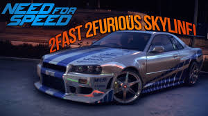 blue nissan skyline fast and furious need for speed 2015 paul walkers 2 fast 2 furious r34 skyline