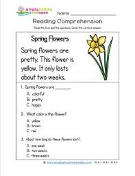 kindergarten reading comprehension spring flowers