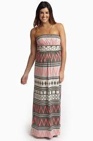 chevron maxi dress grey pink chevron tribal printed strapless maternity maxi dress