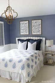 blue quatrefoil wallpaper modern coastal bedroom makeover reveal modern coastal white