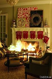 mantelpiece christmas garland with lights fireplace night home