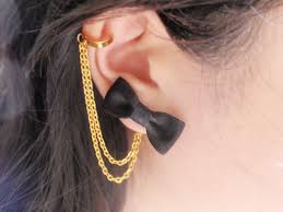 ear cuff online black satin ribbon bow gold chain ear cuff pair of