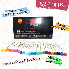 amazon com fabric markers pens permanent color art markers 24 set