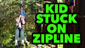 kid stuck on zip line youtube