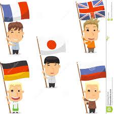 children holding flags of the world stock illustration image