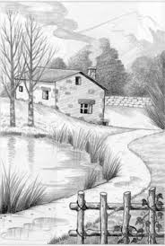 landscape drawings in pencil drawings on vacation in a nice
