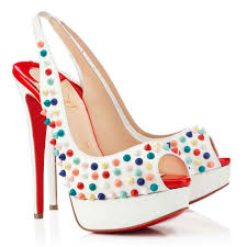 christian louboutin lady peep sling spikes 150mm white multi gomme