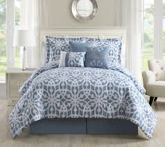 California King Bed Comforter Sets 7 Piece Promise Blue White Comforter Set
