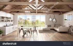 minimalist mezzanine loft kitchen living bedroom stock minimalist mezzanine loft kitchen living and bedroom wooden roofing and parquet floor