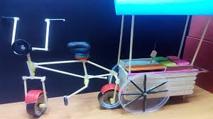 diy miniature bicycle with ice cream cart popsicle stick crafts