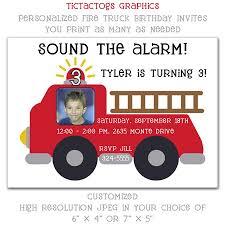 fire truck personalized photo customized birthday invitations