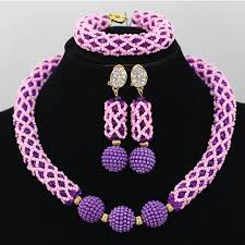 pink beads necklace images White crystal african beads jewellery party wedding set with jpg